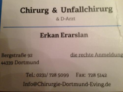 Erkan Erarslan, Facharzt für Allgemeinchirurgie, Facharzt für Orthopädie und Unfallchirurgie in Dortmund