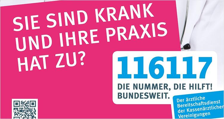 116 117: Die Nummer des ärztlichen Bereitschaftsdienstes ist bundesweit gültig.
