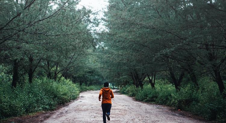 Person joggt durch einen Wald.