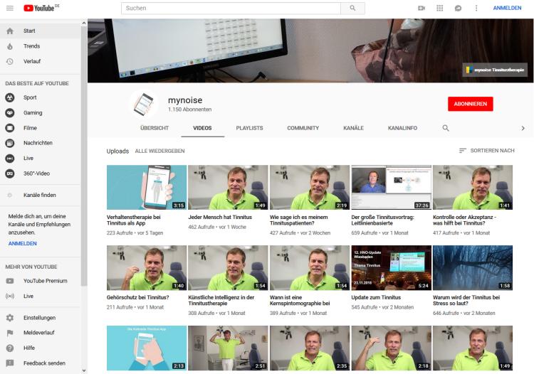 Screenschot des YouTube-Kanals mynoise.
