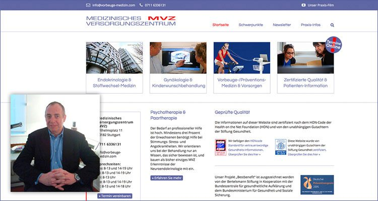 Screenshot der Webseite vorbeuge-medizin.com.