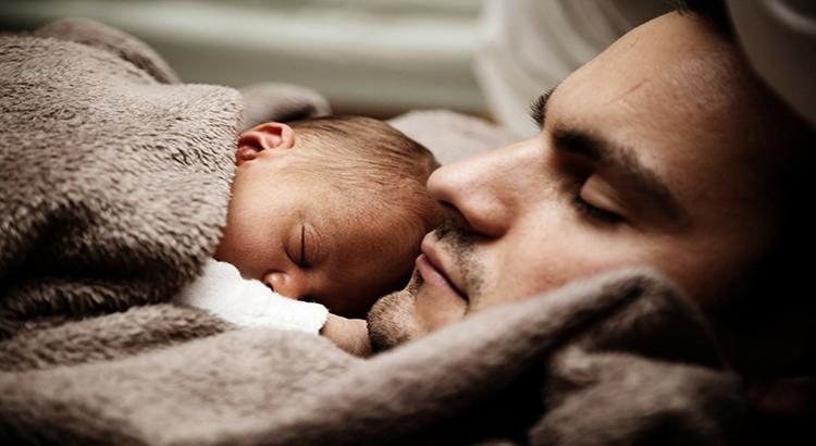 Mann, Baby, Schlaf, Familie