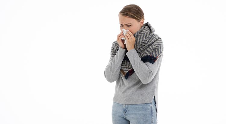 Frau, Schnupfen, kalt, krank