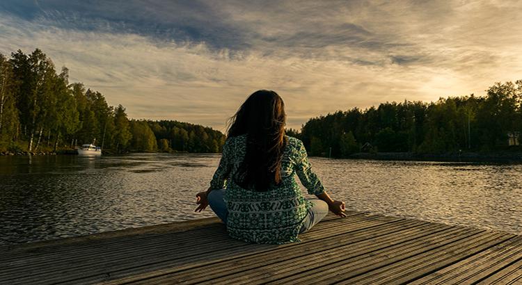Frau, Steg, Wasser, Yoga, Sonne
