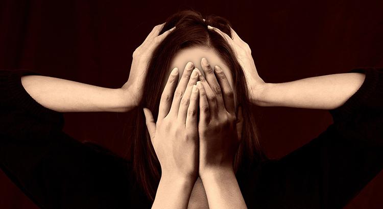 Frau, Stress, Hände