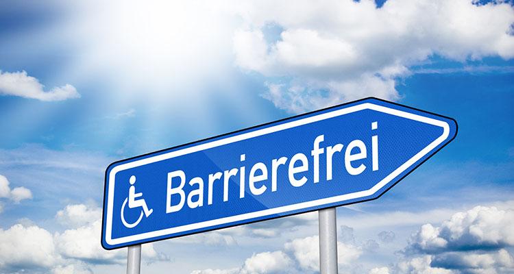 Wegweiser mit dem Aufschrift Barrierefreiheit.