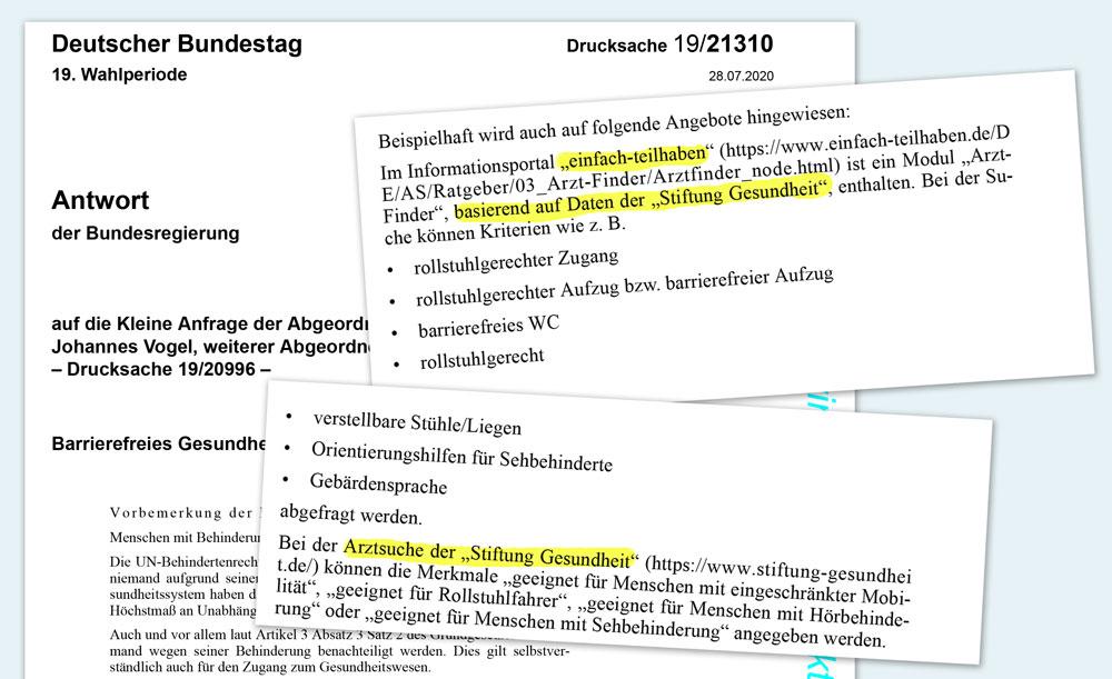 Collage: Arzt-Auskunft bei Bundestag