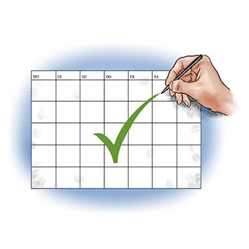 Hand macht Haken hinter Termin im Kalender.