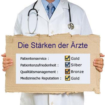 Arzt hält Schild mit Informationen übder das Arzt-Profil.